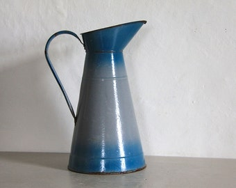 Antique French Enamel Pitcher/ Jug Teal Blue and Gray