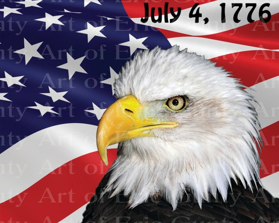 Patriotic Eagle 4th of July Birthday - Edible Cake and Cupcake Topper For Birthday's and Parties! - D22994
