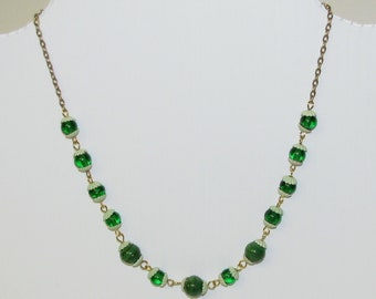 Green and gold lampwork glass hand wired beads necklace