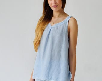 Linen Pajama Set With Shorts For Women In Pale Blue/ Pajama Top Sleeveless With Laced Top And Bottom/ Luxury Linen