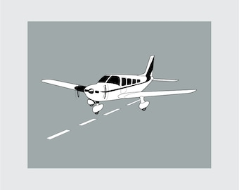 Airplane Art Print, 8x10 PRINTABLE, Private Plane, Instant Download, Digital
