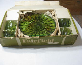 """Vintage Anchor Hocking """"Fairfield""""  Green 8 Pc. Snack Set in Original Box, Appears NEW"""