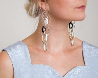 Oversized Chain Link Dangle Earrings