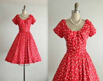 Reserved 50's Silk Dress // Vintage 1950's Herbert Sondheim Silk Dotted Cocktail Party Dress S