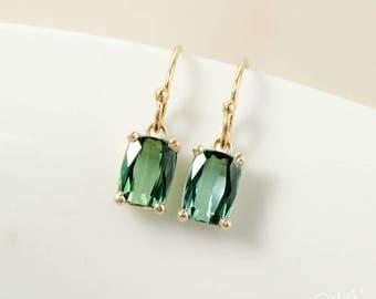 Minimalist Emerald Green Tourmaline Earrings - Small Tourmaline Earrings - Green Gemstone Earrings