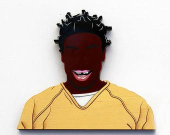 Orange Is The New Black Suzanne Crazy Eyes Warren layered laser cut acrylic and wood brooch OITNB