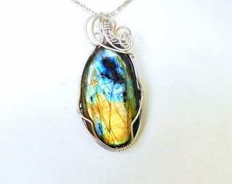 Large Labradorite cabochon Sterling silver wire wrapped pendant 40 mm