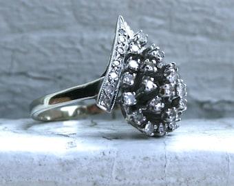 Cool Retro 14K White Gold Diamond Cluster Ring Engagement Ring - 0.76ct.
