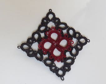 Kindness and Joy Pendant in black and dark red