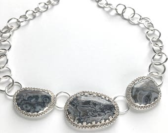 Gray Agate and Sterling Silver Statement Necklace - Big Gray Stones Bezel Set in Sterling Silver with Handmade Chunky Sterling Silver Chain
