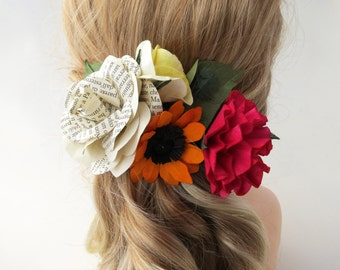 Mixed Paper Flowers Hair Piece Corsage - Multicolor Flower Hair Clip
