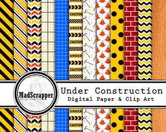 Digital Scrapbook Paper Under Construction 12 Patterns 5 Solids 12 x 12 PLUS Clip Art  Instant Download