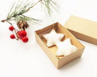 Felt Star Ornament, Wool Felt Holiday Decor, Set of Two, White and Gold