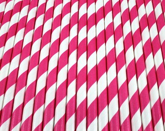 25 Hot Pink and White Diagonal Stripe Paper Drinking Straws - Party Decor Supplies Tableware
