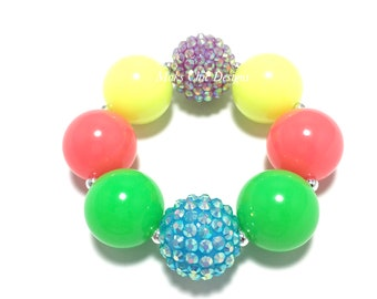 Toddler or Girls Neon Chunky bracelet - Neon Purple, Yellow, Pink, Green and Blue Bracelet - Summer Rainbow Bracelet - Circus Bracelet