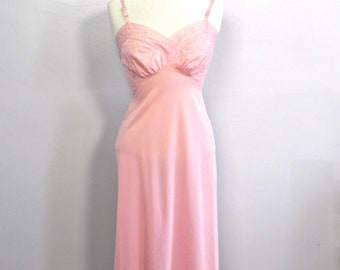 Vintage 50s Pink Chiffon Slip Lingerie , 1950s Embroidered Lace Night Dress M 36