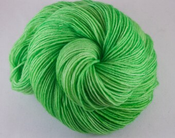 Hand Dyed Sock Yarn, hand dyed wool, variegated sock yarn, nylon sock yarn, green, highlighter