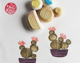 cactus rubber stamps | cacti garden stamp | birthday card making | diy art journal | holiday crafts | hand carved by talktothesun | set of 5