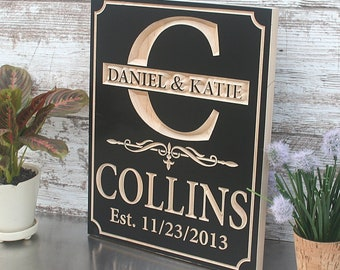 Custom Engraved Family Name Wood Sign, Personalized Wooden Plaque, Home Decor, Rustic Wedding Sign, Benchmark Custom Signs, Maple HB