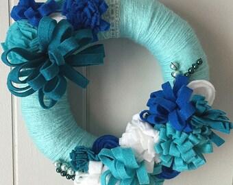 Yarn Wreath - Aqua and Blue
