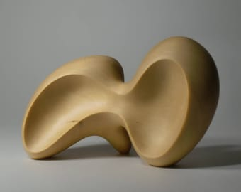 Abstract Wood Sculpture - Involution No.1 - Carved From Yellow Cedar With Hand Tools - Smooth, Modern, Natural, Freestanding, Organic, Curvy