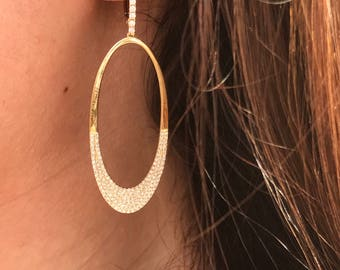 14k Yellow Gold Diamond Dangle Earrings 150-436