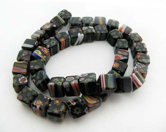 Black with Mixd flower Millefiori Cube Beads - CG066