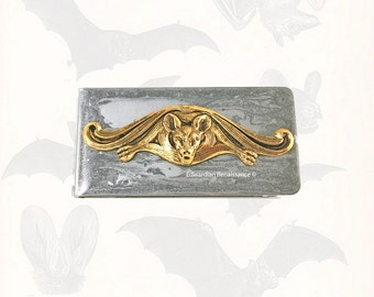 Vampire Bat Money Clip Inlaid in Hand Painted Glossy Silver Enamel Gothic Victorian Money Holder Personalized and Color Options