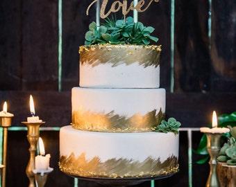 Love Wedding Cake Topper, Love Cake Topper, Rustic cake topper, Wedding Cake Toppers, Wedding cake, Script Cake Topper, Glittery Cake Topper