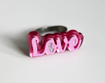 The Jewellery Lab -Love Ring Pink Mirror and Pastel Pink-