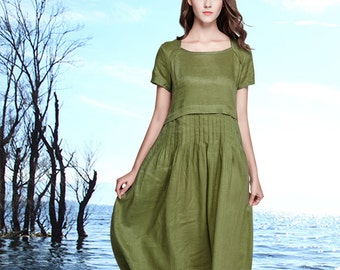 Linen Tunic Dress In Green, Maxi dress, linen dress woman, Green dress, pleated dress, short sleeve dress, Summer Linen Dress, long dress