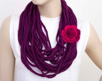 crochet chain  lariat scarf , crochet chain loop scarf ,crochet infinity scarf with removable flower pin,purple