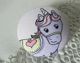 Button in pink, Unicorn, 40 mm / 1.57 in