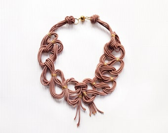 Big rope necklace, rope jewelry, statement necklace, colorful necklace, african style, pink necklace, necklace for the bride, bridesmaids