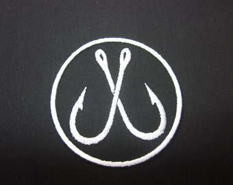 Fish Hook Fishermans Hook Fishing Patch Iron or Sew on patch