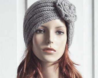 Hand Knit Hat woman hat Wool beanie Hat with crochet flower grey hat - ready to ship