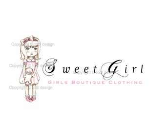 Sweet Girl - Girls Boutique Clothing - OOAK Character Illustrated Premade Logo design