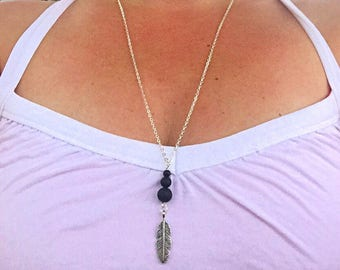 Aromatherapy Necklace Essential Oil Necklace Diffuser Necklace Lava Rock Necklace Feather Necklace Aroma Necklace Gift Boho Necklace