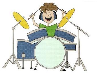 Drummer Cross Stitch Patter Drums Instant Digital Download