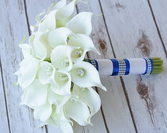 Silk Flower Wedding Bouquet - Calla Lilies Off White Natural Touch with Crystals Blue Accent Silk Bridal Bouquet