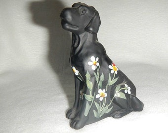 Black Satin Mosser Labrador, Handpainted w/Daisies & Ladybug, Artist Signed