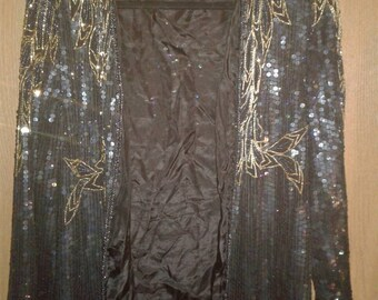 Sequin Beaded Formal Jacket Black Tie Hostess HOLIDAY GLAMOUR XL Silk Disco Bridal Wedding Dressy Party Flashy Bling Bling