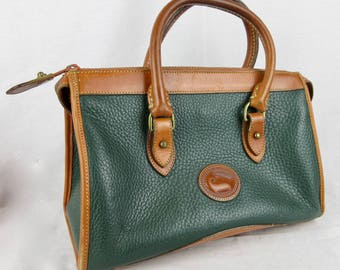 Vintage Authentic Dooney and Bourke Satchel, All Weather Leather Collection, Designer Handbag, Green Brown