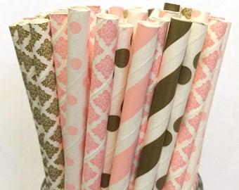 2.85 US Shipping -Pink & Gold Paper Straws - Gold and Pink Straws - Cake Pop Sticks - Drinking Straws -Blush Pink, Light Pink