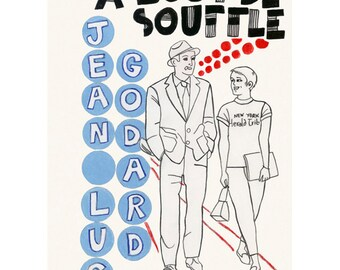 """Film poster Breathless Poster Print - Film Art - French Film  4 for 3 SALE A Bout de Souffle  8.3"""" X 11.7"""" print"""