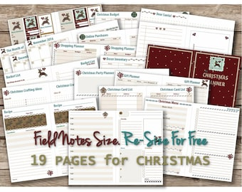 Holiday planner printable Christmas notebook inserts for winter travelers notebook advent organizer Field Notes calendar _ Re-size is FREE