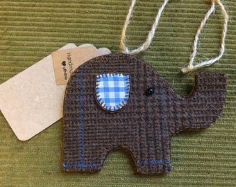 Handmade Tweed Gingham Felt New Baby Elephant Gift Tag Shabby Chic