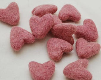 3cm 100% Wool Felt Hearts - 10 Count - Coral Pink