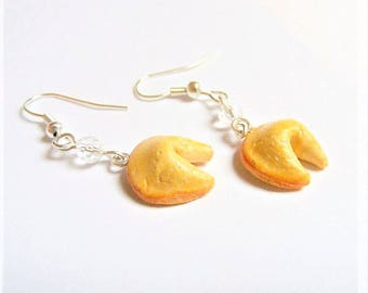 Food Jewelry, Fortune Cookie Earrings, Miniature Food Jewelry, Fortune Cookie Jewelry, Mini Food Jewelry, Lucky Earrings, Chinese Earrings