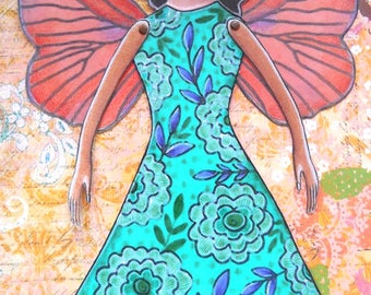 Printable paper-doll butterfly fairy in full color pdf format